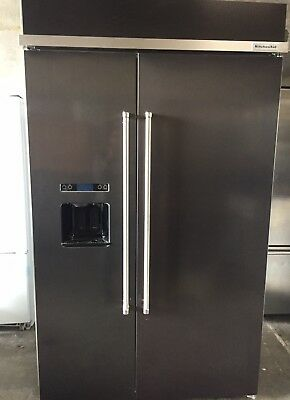 """KitchenAid KBSD608ESS 48"""" Stainless Built In Side by Side Refrigerator"""
