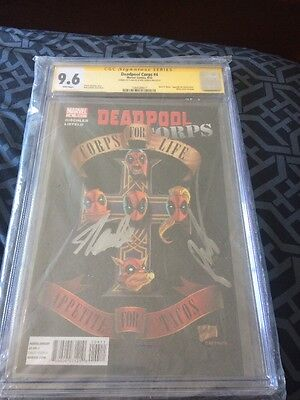 "Deadpool Corps 4 CGC SS 9.6 Signed By STAN LEE & ROB LIEFELD ""GUNS N ROSES"""