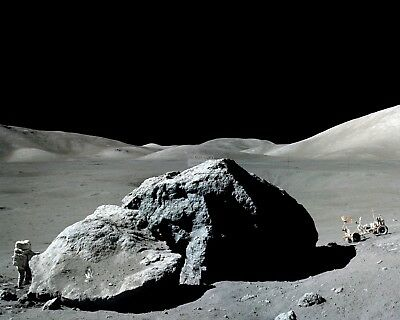 Apollo 17 Astronaut Harrison Schmitt Next To Boulder - 8X10 Nasa Photo (Ab-214)