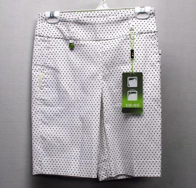 New Ladies Size 2 Swing Control Stretch white black dots golf shorts