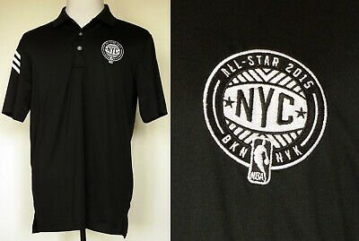 NEW Adidas CoolMax Black S/S Polo Shirt NBA All-Star 2015 Brooklyn New York M