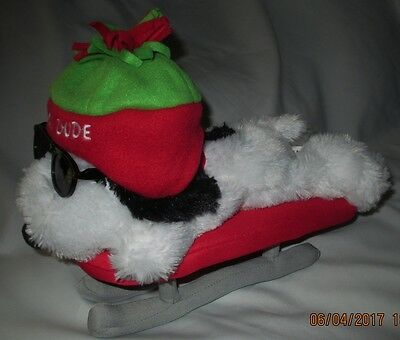 SNOOPY on Sled Hallmark Plush PeanutsSunglasses hat 12 inch One Cool Dude
