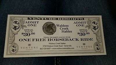 One free Horseback Ride Ticket SAVE! Sevierville TN. Walden Creek Stables