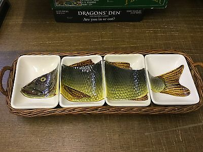 Vintage Spanish Pottery Fish Sectional Dishes in Whicker Tray HISPANIA