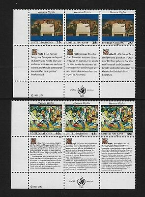 UNITED NATIONS, New York - mint 1989 Human Rights blocks of 3 with tabs, MNH MUH