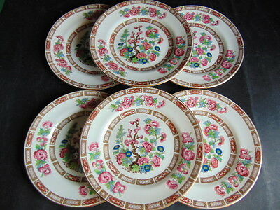 Crown Staffordshire Indian Tree Tea/Side Plates x6 In Very Good Condition