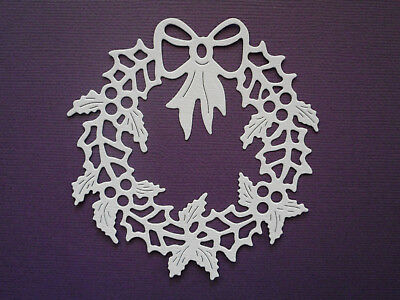Christmas Wreath Paper Die Cuts x 8 Scrapbooking Card Topper Embellishment