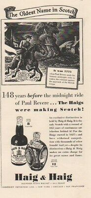 1939 Haig Scotch~Paul Revere~1775 Midnight Ride-Five Star-Pinch 1930s Print Ad
