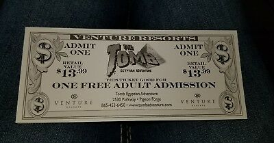 One Free Adult Admission The Tomb Ticket SAVE! Pigeon Forge TN.