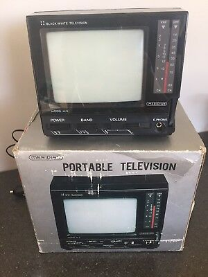Portable Black And White TV Miniature Vintage Meridian 12 V Adapter Untested