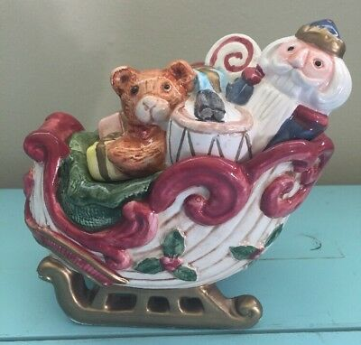 Fitz And Floyd Christmas Sleigh Toy Collection Nutcracker Drummer Candy Dish