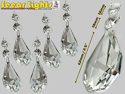 """5 2.5"""" Chandelier Drops Cut Prism Glass Crystals Oval Droplets Spare Light Parts"""