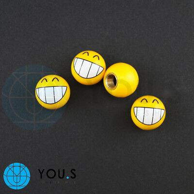 4 pcs Emotion Smileys' Wide Laugh' Valve Caps in Yellow for Cars E.G. VW