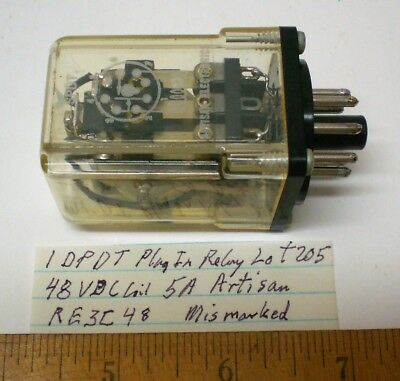 1 New Plug-in Relay DPDT, 48VDC Coil, 5A Cont. ARTISAN #RE3C48, Lot 205, USA
