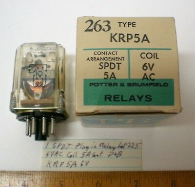 1 New Plug-In Relay SPDT, 6VAC Coils, 5A Cont.Potter&Brumf. #KRP5A6, Lot 225 USA