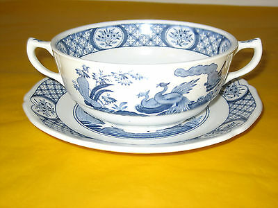 VINTAGE FURNIVALS OLD CHELSEA SOUP CUP&STAND cream marks,flaw&crazing on stand