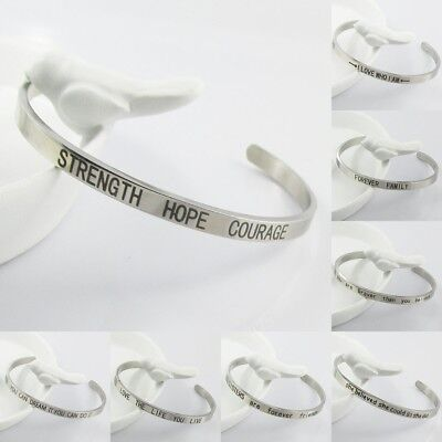 Inspirational Message Cuff Bangle Bracelet 316L SS Select from 10 Messages