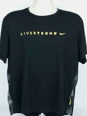 NIKE Dri-Fit Livestrong XL Short Sleeve Vented Athletic Tee T-Shirt Black