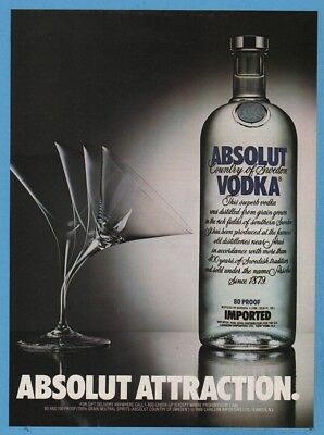 1988 Absolut Vodka ATTRACTION Advertisement Martini Glass Vintage Photo Ad