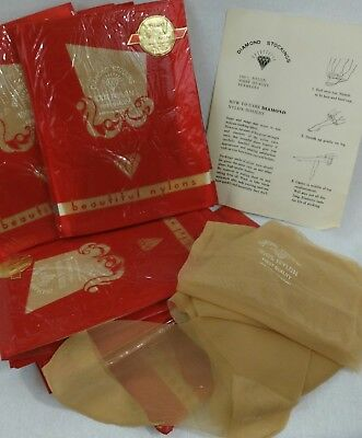 VTG Womens Sheer Nylon Stockings Lot Of 21 Diamond Stocking First Quality Size 9