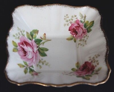 Royal Albert American Beauty Small Square Condiment Dish England Lovely