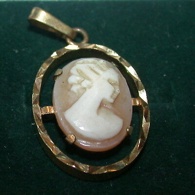 Vintage Carved Cameo Shell  A*D Gold Pendant Germany.