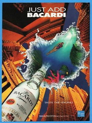 1994 Bacardi Rum City Skyscrapers In To Woman Swimming Coral Fish Tropical Ad