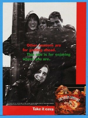 1994 Southern Comfort SoCo Friends Playing In Snow Magazine Print Ad