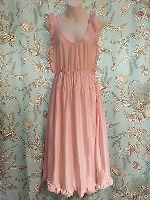 Vtg Silky Shiny Open Arms Lace Pink Nylon Ruffles Frilly Nightgown Large Rikki
