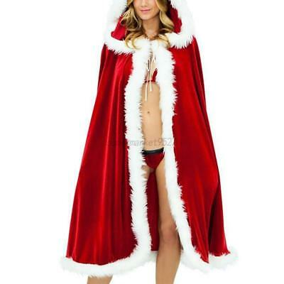 Women Long Cloak Cape Hooded Coat for Christmas Halloween Costume Party Outwear
