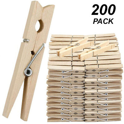 200 Pack x Wooden Clothes Pegs - 7cm Normal Size - Timber Wood