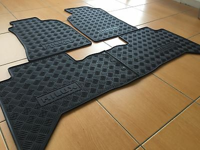 Rubber Floor Mats Front & Rear to suit Toyota Hilux 2005-2011 Dual Cab