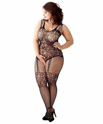 Curbigals Womens Floral Crotchless Bodystocking Plus Size Open Crotch Fishnet