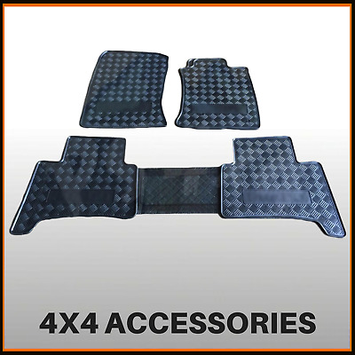 Rubber Floor Mats Front & Rear to suit Toyota Prado 120 Series 2002-2009