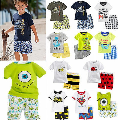 Kids Toddler Boys Pyjamas Short Sleeve T-Shirt Shorts Summer Outfits Sets 1-8Yrs