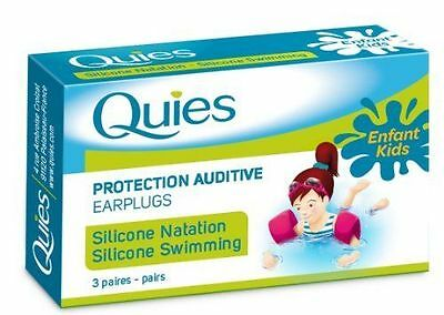 Quies Protection Auditive Silicon Earplugs 3 Pairs Kids Enfants Swimming Sealed