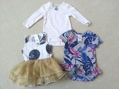 3 Pcs BONDS Baby Girls Dress/ Bodysuit Bundle, Size 000 in Great used
