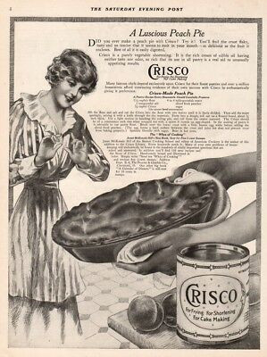 1916 Luscious Peach Pie Crisco Shortening Cooking Food Vintage Décor Kitchen Ad