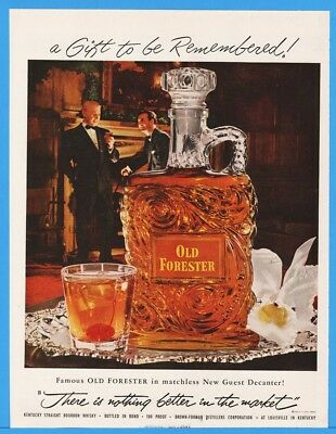 1953 Old Forester Brown Forman Louisville Guest Decanter Gift Cocktail Orchid Ad
