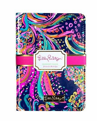 LILLY PULITZER BEACH LOOT Passport Cover Travel Card Holder Wallet Leatherette N