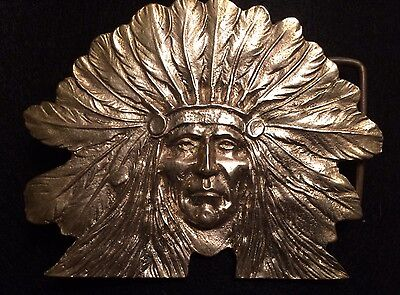 VTG 70 Solid Brass Sioux Native American Indian Sitting Bull Western Belt Buckle