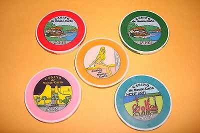 Monte Carlo casino chips lot of 5 chips
