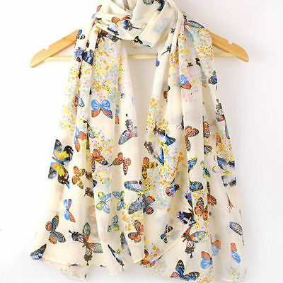 Women Warm Lady Chiffon Butterfly Print Neck Shawl Scarf Scarves Wrap Stole Gift