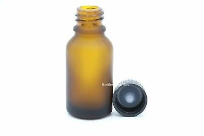 10 Bottles 1/2 oz 15ml Amber Frost Boston Round Glass  With Black Cap CLOSED CAP