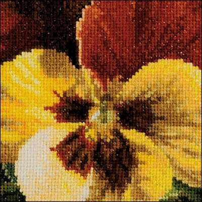 """Pansy X On Aida Counted Cross Stitch Kit 3.75""""X3.75"""" 18 Count 499994662002"""