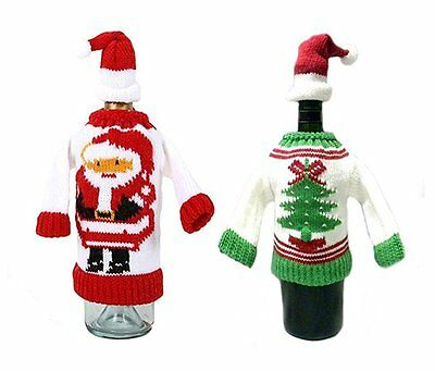 Christmas Party Ugly Sweater Wine Bottle Cover Set of 2 Christmas Wine Gift