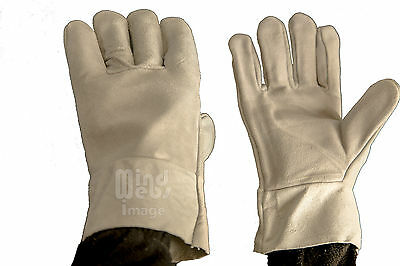 Cow Hide Split Leather Work Gloves x 2 Pairs