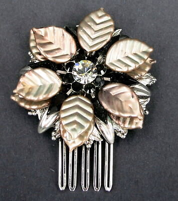 LOVELY BLACK CRYSTAL HAIR COMB FASCINATOR by ELYSIAN CREATIONS