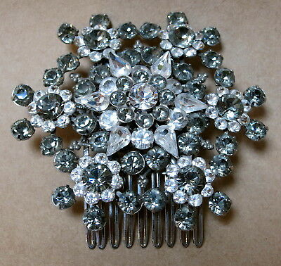 STUNNING LARGE DIAMANTE HAIR COMB FASCINATOR by ELYSIAN CREATIONS