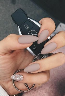 matte nude glitter crystal stiletto false nails hand painted